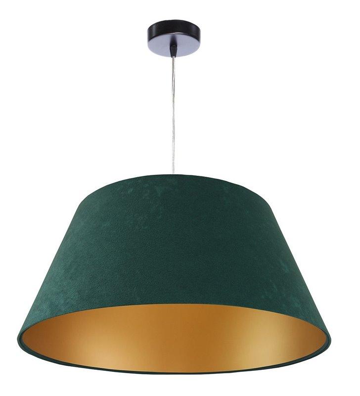 Zielona lampa wisząca ze złotym środkiem Anadia stożek welur do salonu sypialni jadalni