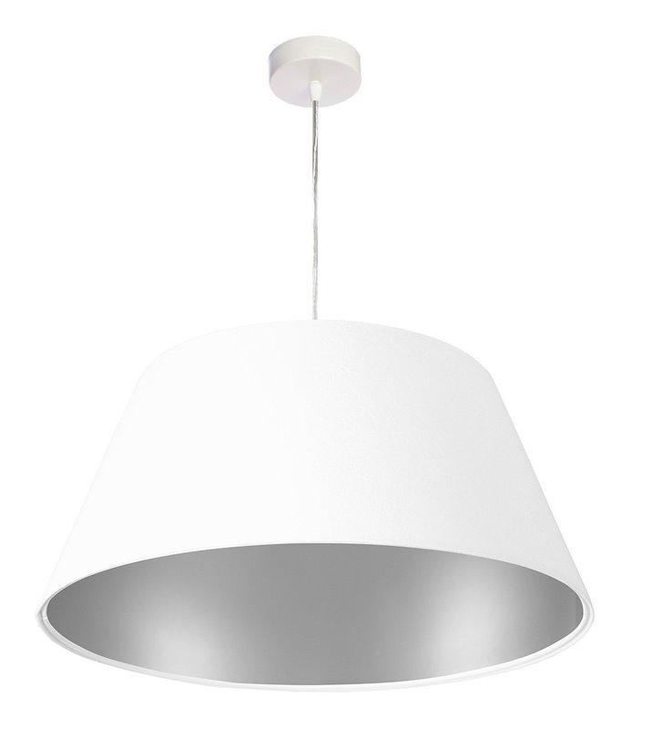 Lampa wisząca Horta biała welurowa wnętrze srebrne abażur stożek średnica 50cm do salonu sypialni jadalni pokoju gościnnego