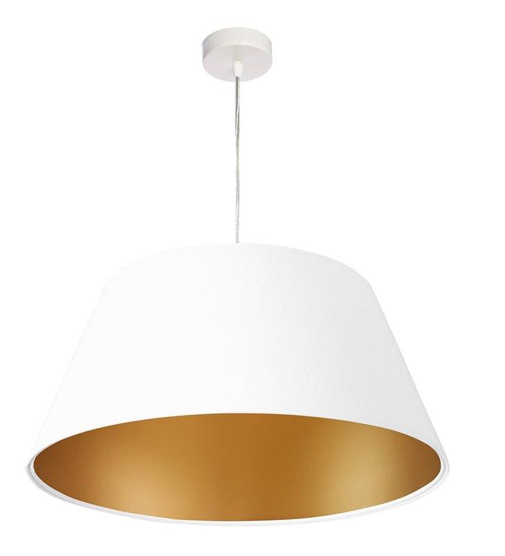 Biało złota lampa wisząca Maia welurowa abażur 50cm do salonu sypialni jadalni