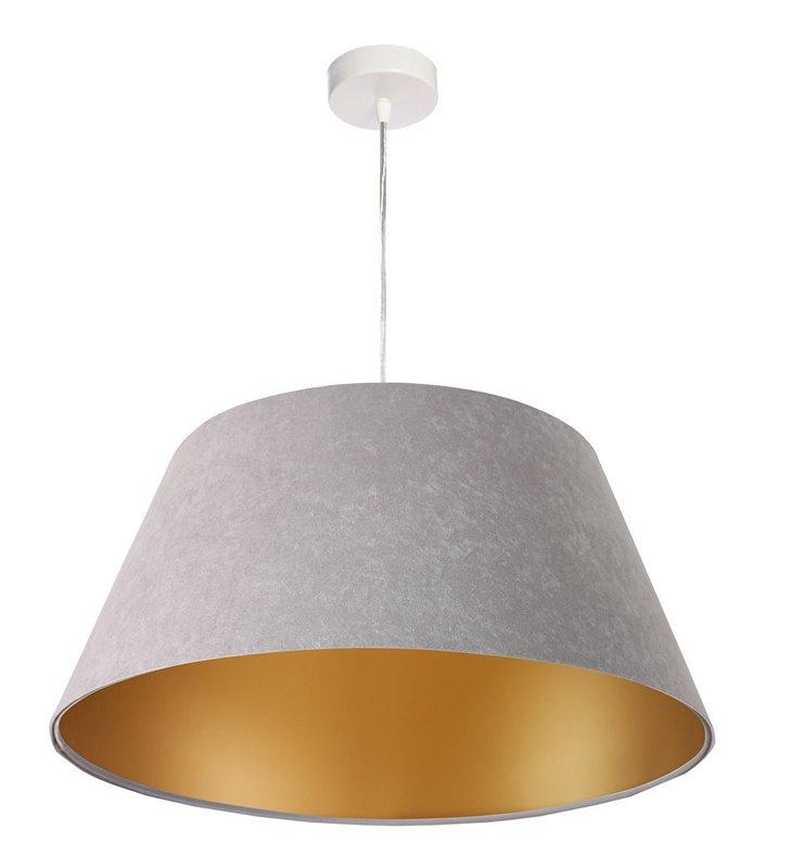 Gris szara lampa wisząca ze złotym środkiem średnica 50cm do salonu sypialni jadalni