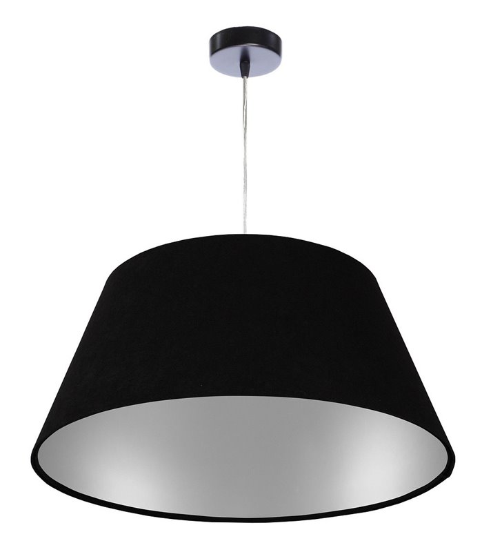 Lampa wisząca Maura czarna ze srebrnym wnętrzem welurowy abażur średnica 50cm stożek do jadalni nad stół do salonu sypialni
