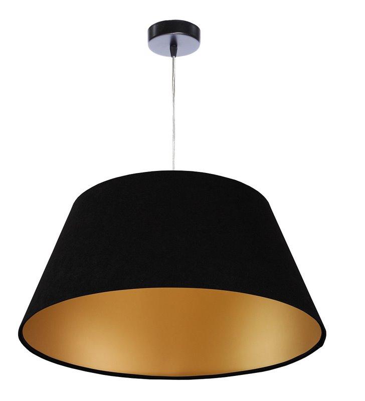 Laures czarno złota welurowa lampa wisząca z abażurem 50cm stożek do jadalni nad stół do salonu sypialni pokoju gościnnego