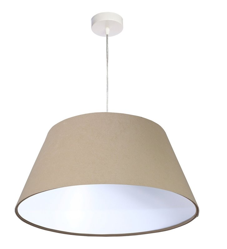 Welurowa lampa wisząca Tavira abażur beżowy z białym środkiem