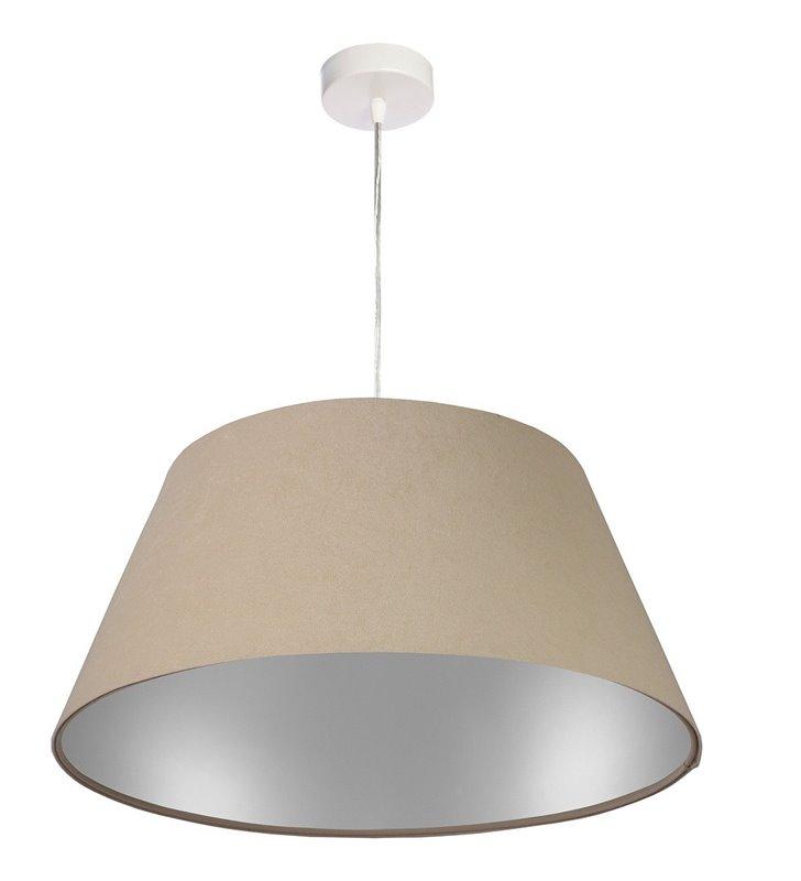 Lampa wisząca Valongo abażur beżowy ze srebrnym wnętrzem do salonu jadalni sypialni
