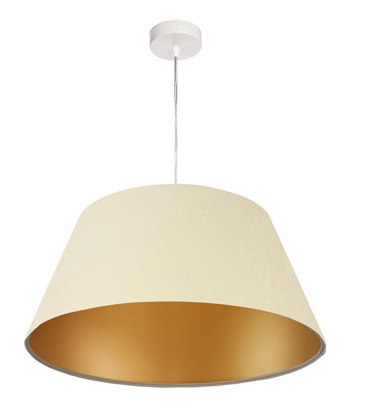 Lampa wisząca Vizela kremowo złota abażur z weluru 50cm stożek wewnętrzna jasna