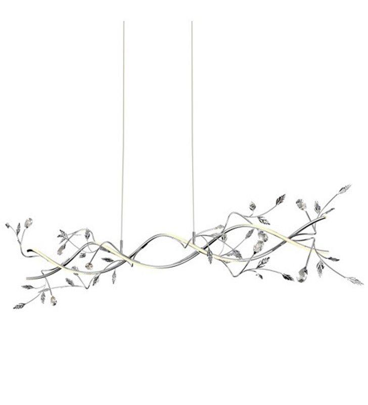Dekoracyjna podłużna lampa wisząca Bella LED ozdobiona listkami i kryształkami np. nad stół do jadalni