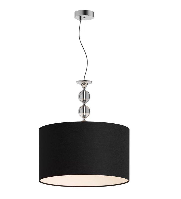Lampa wisząca Rea czarny abażur 50cm ozdobne szklane zawieszenie z kulami do salonu sypialni jadalni nad stół