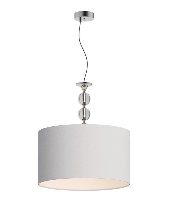 Lampa wisząca Rea biała abażur z tkaniny średnica 50cm ozdobne szklane zawieszenie z kulami do salonu sypialni jadalni nad stół