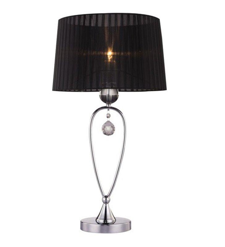 Lampa stołowa Bello czarna wysoka z dekoracyjnym kryształem abażur tekstylny