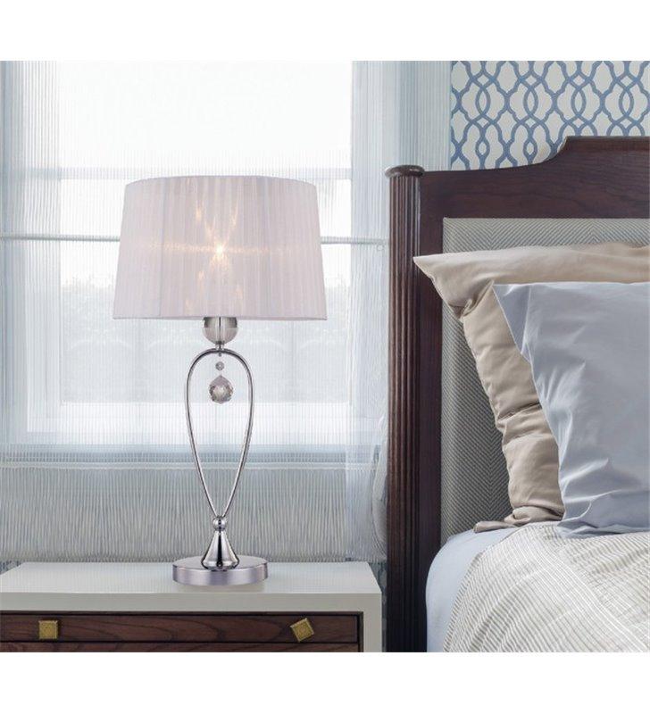 Lampa stołowa Bello biały tekstylny abażur wysoka z dekoracyjnym kryształem do sypialni salonu jadalni