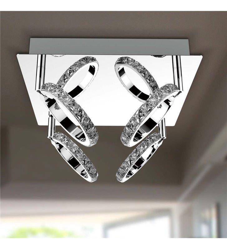 Lampa sufitowa Toledo 4 obręcze z kryształami