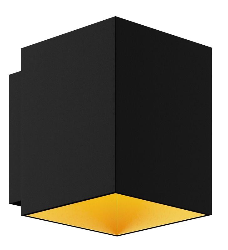 Czarno złoty kinkiet Sola Square do wnętrz w stylu minimalistycznym technicznym nowoczesnym