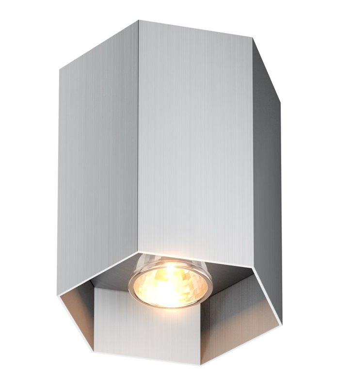 Oprawa sufitowa downlight Polygon sześciokątna nieruchoma w kolorze aluminium