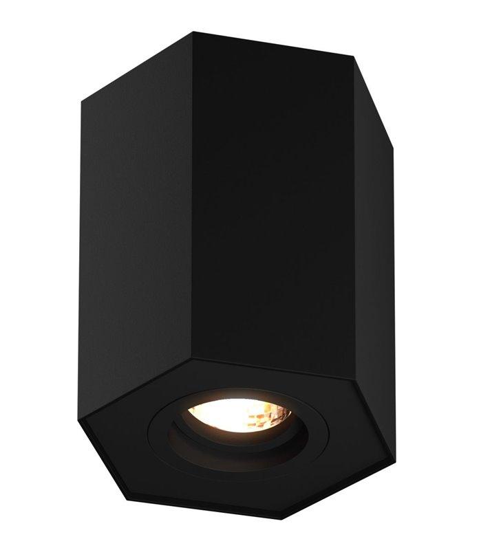 Lampa sufitowa Polygon ruchoma czarna nowoczesna sześciokątna