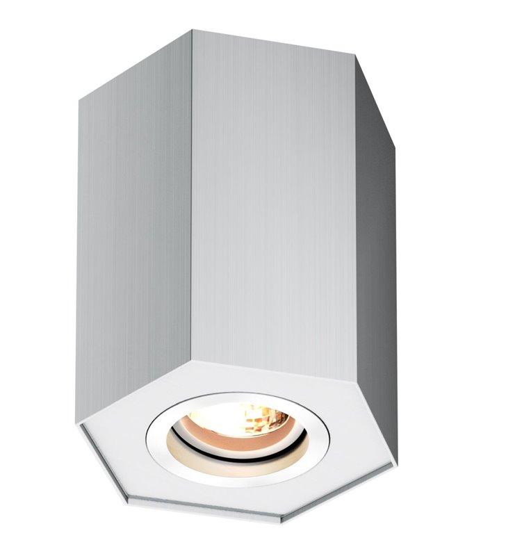 Oprawa sufitowa downlight Polygon geometryczna w kolorze aluminium ruchoma