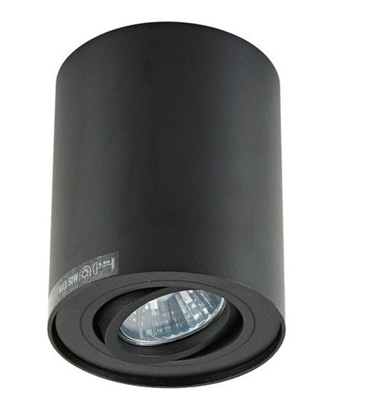 Lampa sufitowa typu downlight Rondoo okrągła walec czarna ruchoma