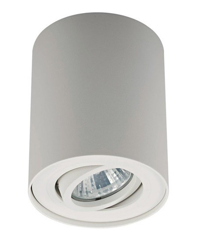 Ruchoma biała lampa sufitowa typu downlight walec Rondoo GU10