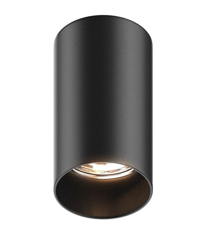 Lampa sufitowa typu downlight Tuba okrągła walec czarna żarówka GU10