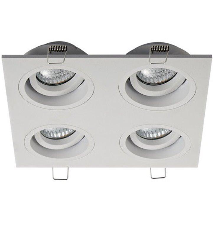 Biała ruchoma lampa do wbudowania Chuck 4 punktowa żarówki GU10