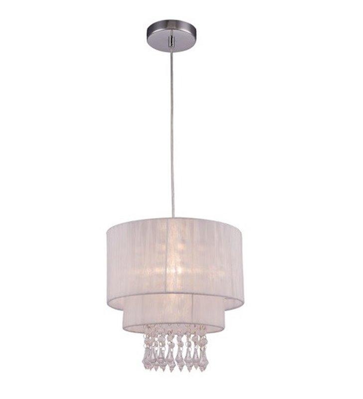 Lampa wisząca Leta biały podwójny abażur ozdobiona kryształkami