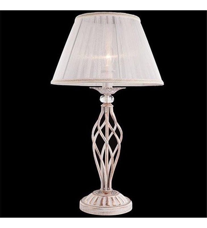 Klasyczna lampa stołowa Iris biało złoty korpus z białym abażurem