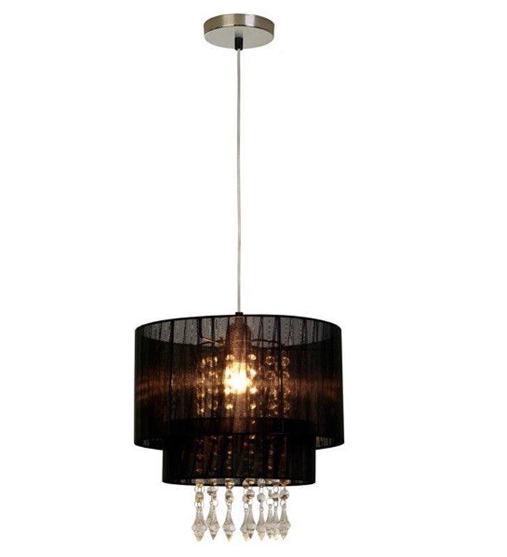Lampa wisząca Leta czarny podwójny abażur ozdobiony kryształami do salonu sypialni pokoju dziennego