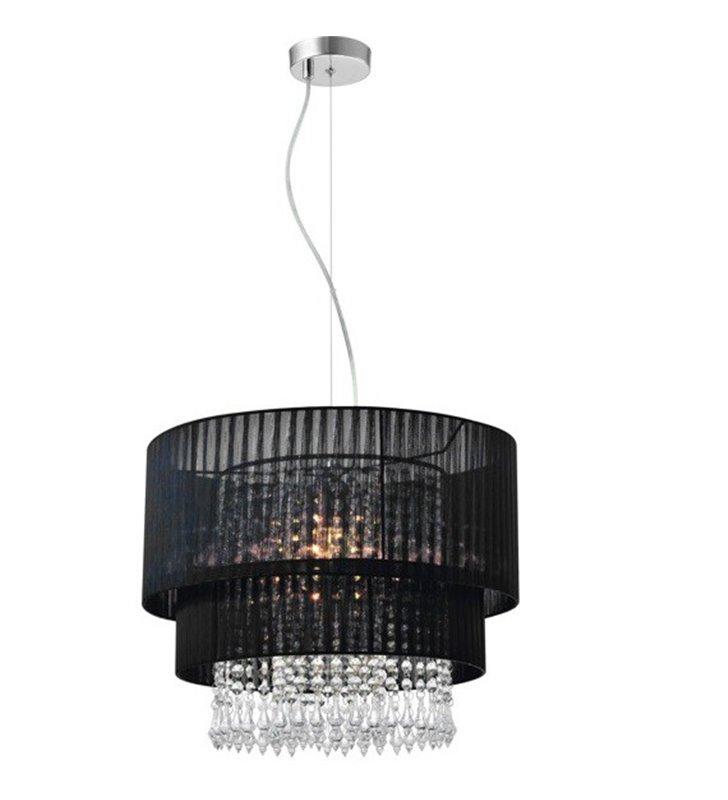 Okrągła lampa wisząca z podwójnym abażurem z tkaniny Leta czarna kryształki do salonu sypialni pokoju dziennego