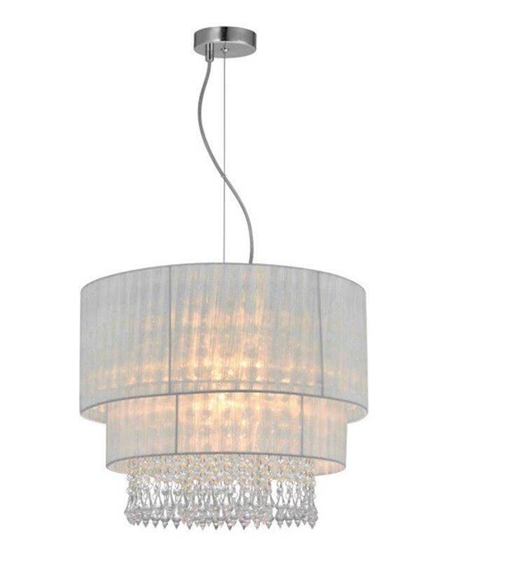 Lampa wisząca Leta biała z podwójnym abażurem kryształki wewnątrz abażura do salonu sypialni pokoju dziennego