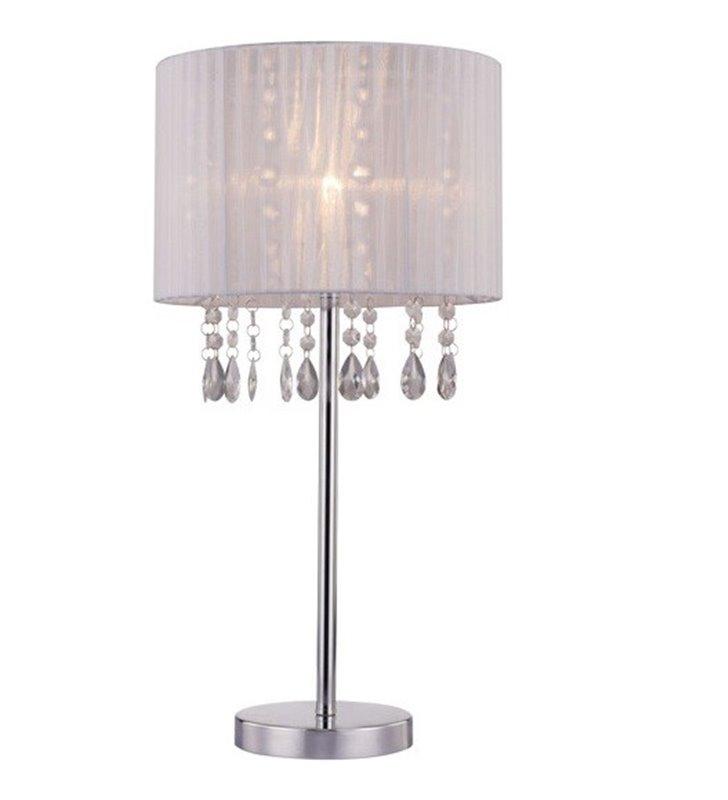 Lampa stołowa Leta biały abażur z kryształami podstawa chrom do salonu sypialni jadalni na komodę stolik nocny