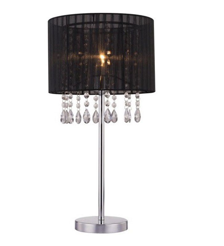 Pokojowa lampa stołowa z kryształami Leta czarny abażur