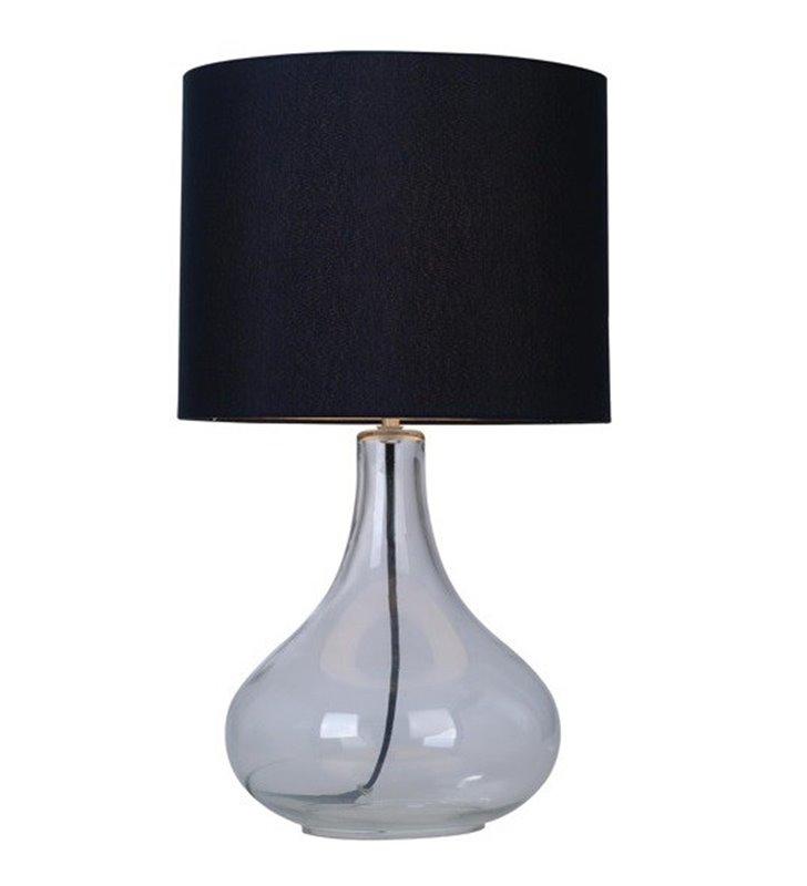 Nowoczesna lampa stołowa Ceri szklana bezbarwna podstawa abażur czarny z materiału