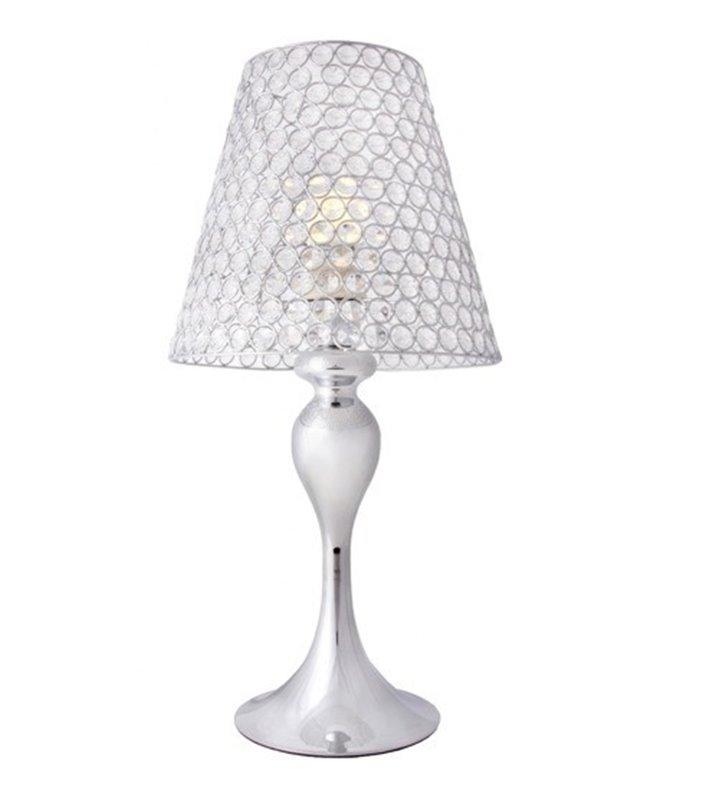 Lampa stołowa Marvel z kryształowym kloszem podstawa chrom 58cm wysokości