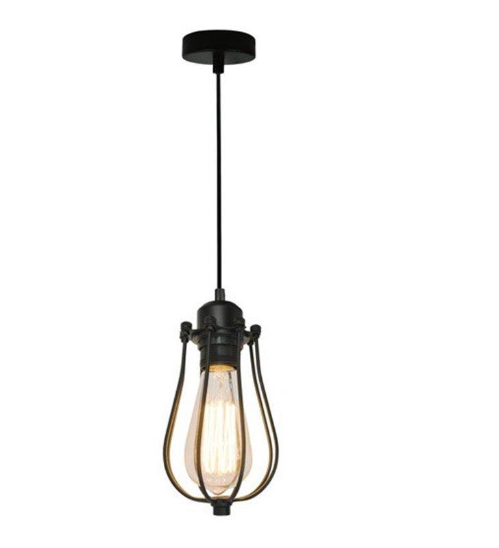 Lampa wisząca Horta czarna metalowa widoczna żarówka styl nowoczesny loftowy industrialny