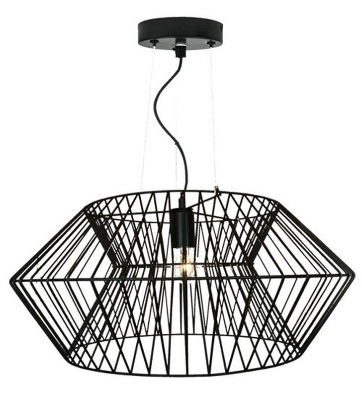 Duża czarna lampa wisząca Verto z drutu do salonu sypialni jadalni kuchni