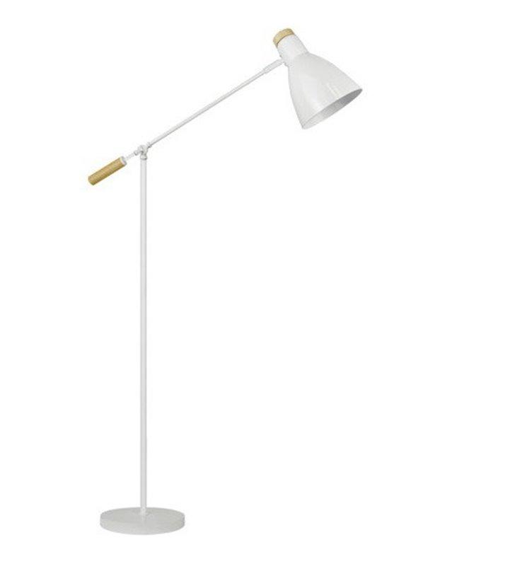 Lampa podłogowa Jose biała z elementami drewnianymi