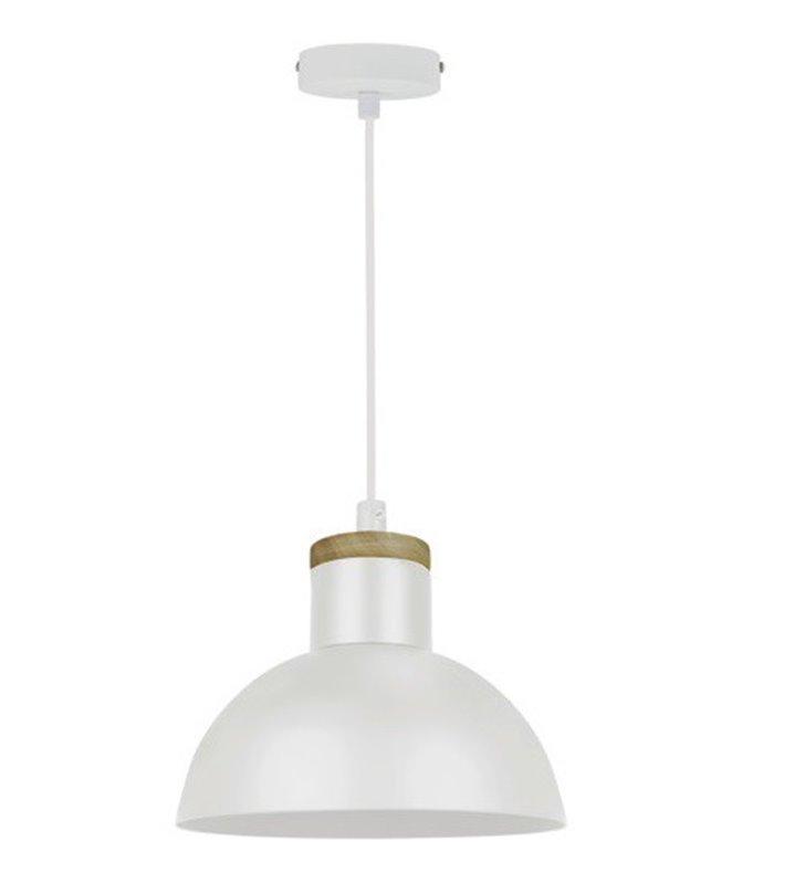 Lampa wisząca Jose biała okrągła metalowa z elementami drewnianymi średnica 25cm