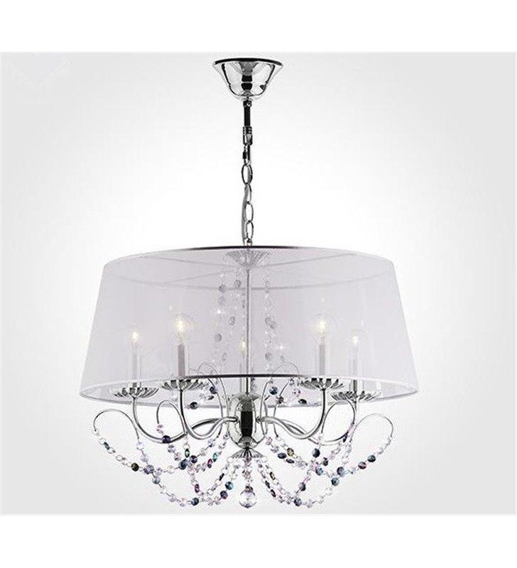Elegancka lampa wisząca 5 ramienna z kryształami Florida abażur transparentny do jadalni salonu sypialni