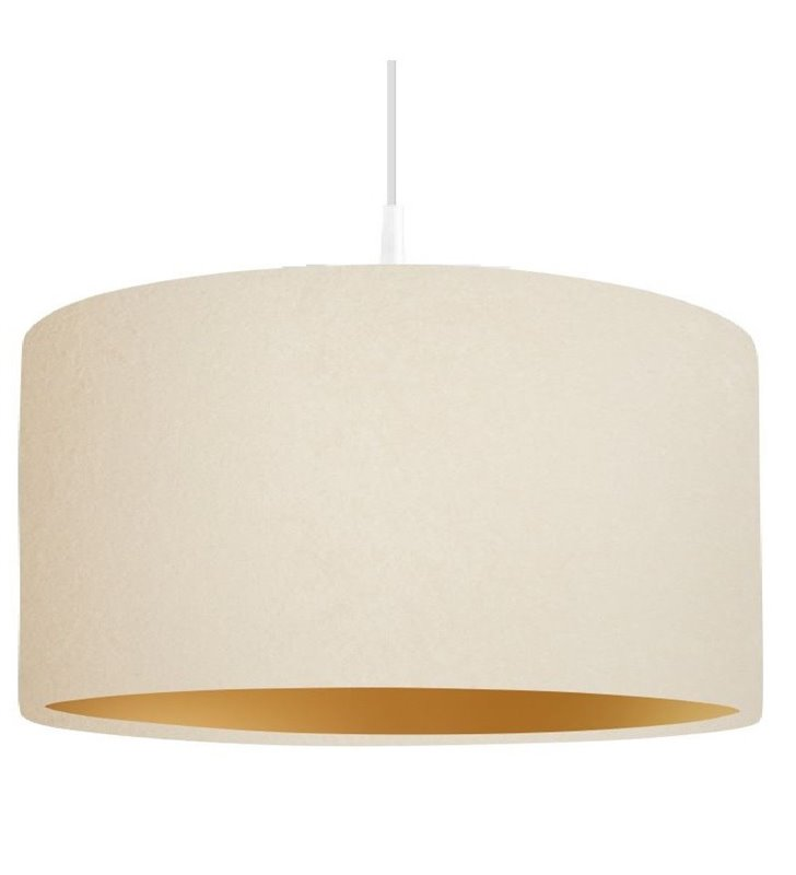 Lampa wisząca Verbena Złota kremowa abażur ze złotym środkiem średnica 40cm