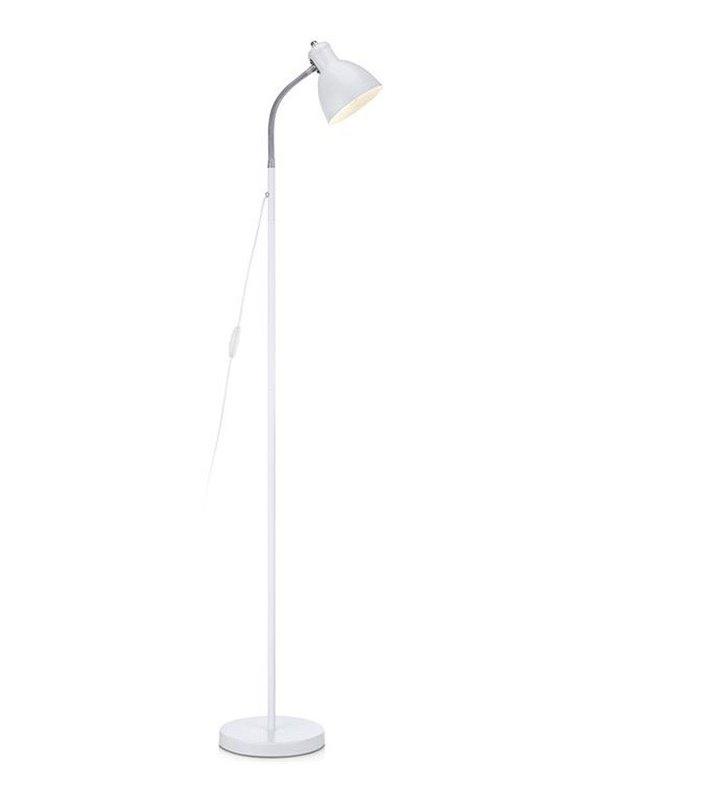 Lampa podłogowa Kiko biała z wykończeniem chrom flexo włącznik na kablu