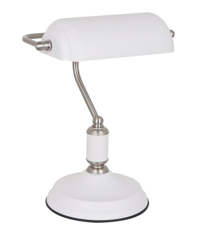 Biała lampa gabinetowa typu bankierka Pablo biała z detalami w kolorze satynowanego niklu