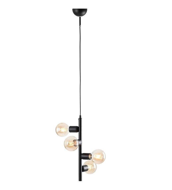 Lampa wisząca Biker I czarna 4 punktowa pionowa styl nowoczesny