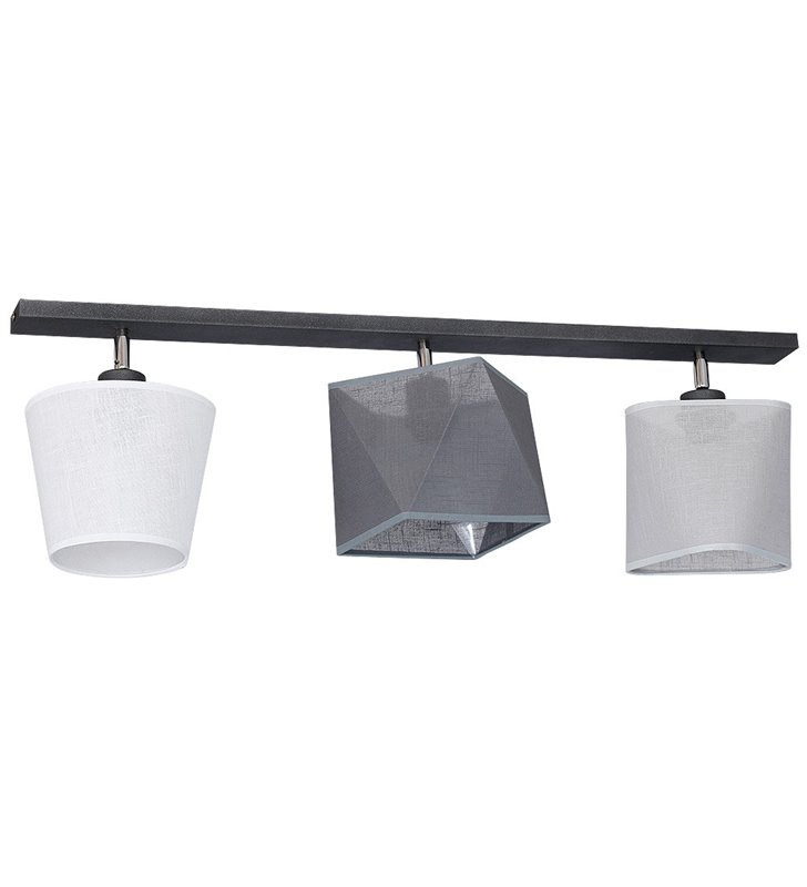 Lampa sufitowa Ador I potrójna belka z 3 różnymi abażurami