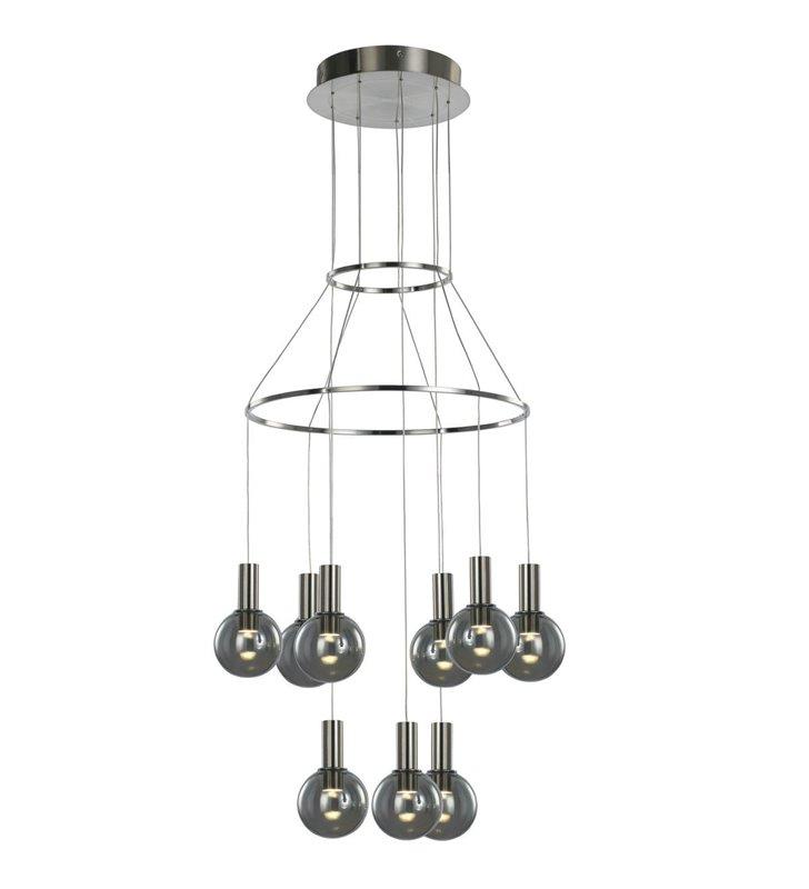 9 punktowa nowoczesna lampa wisząca Aria chrom dymione okrągłe klosze ze szkła