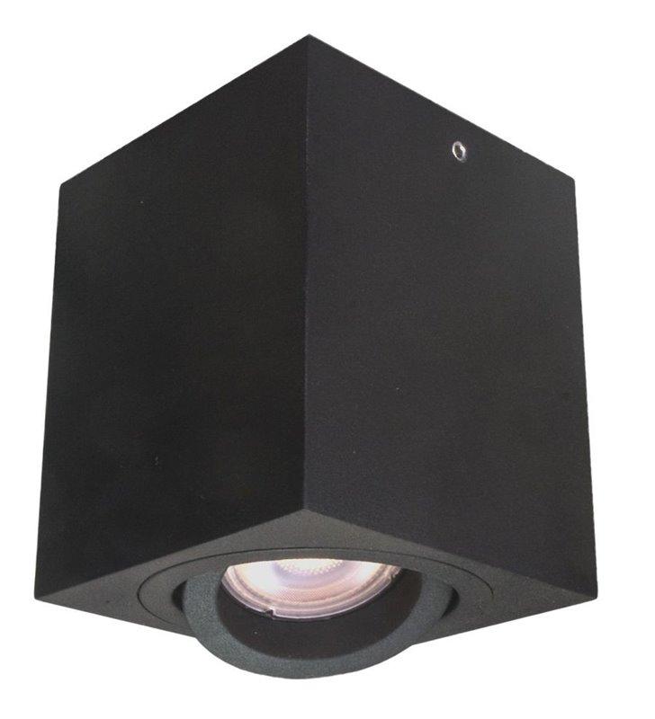 Kwadratowa natynkowa lampa sufitowa Emilio downlight czarna szerokość 8cm