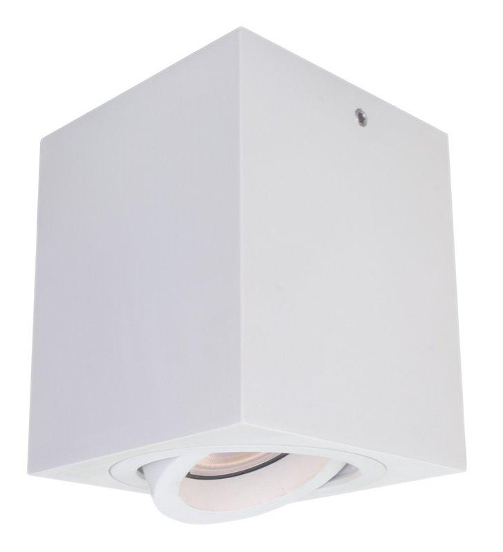 Ruchoma kwadratowa lampa sufitowa Emilio downlight biała szerokość 8cm wysokość 9,5cm