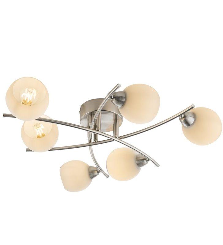 6 punktowa nowoczesna lampa sufitowa Robin w kolorze matowego niklu klosze szklane opal do salonu sypialni na korytarz