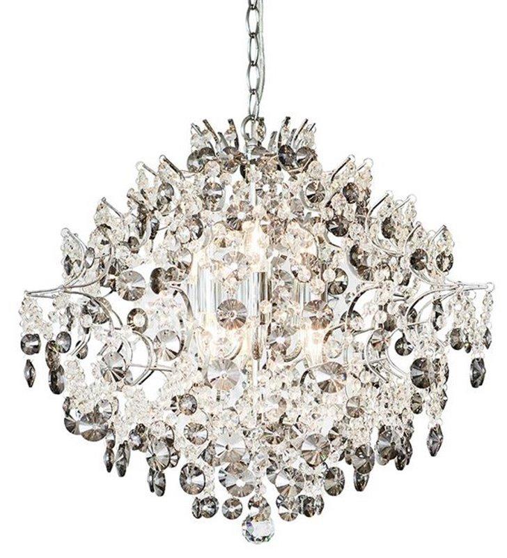 Żyrandol kryształowy Hidden Gen z bezbarwnymi i dymionymi kryształkami wykończenie chrom do salonu sypialni jadalni