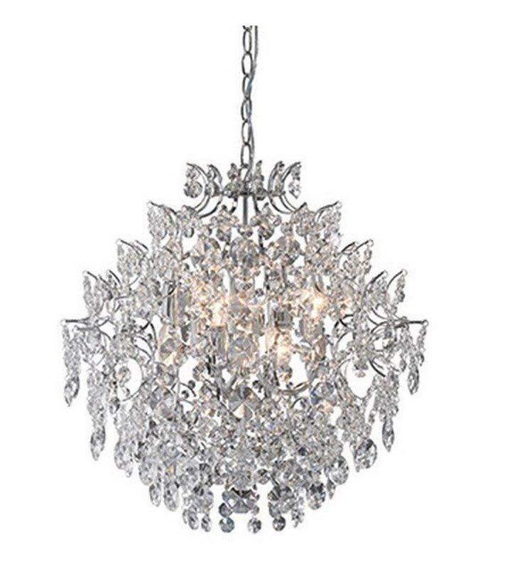 Żyrandol kryształowy Sofiero na 6 żarówek bezbarwne kryształy chromowane wykończenie do salonu jadalni sypialni
