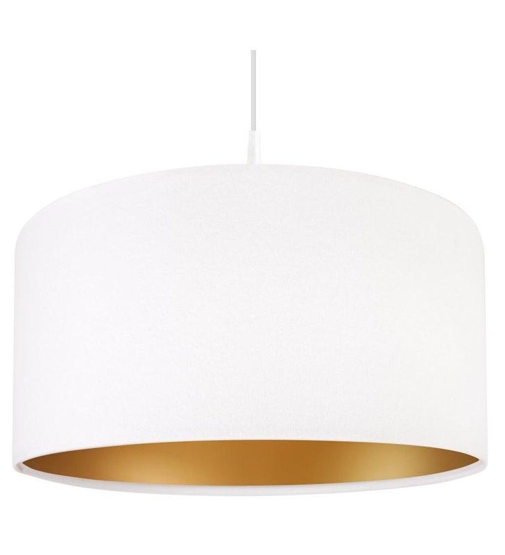 Lampa wisząca Lilia Złota 40cm biała welurowa ze złotym środkiem