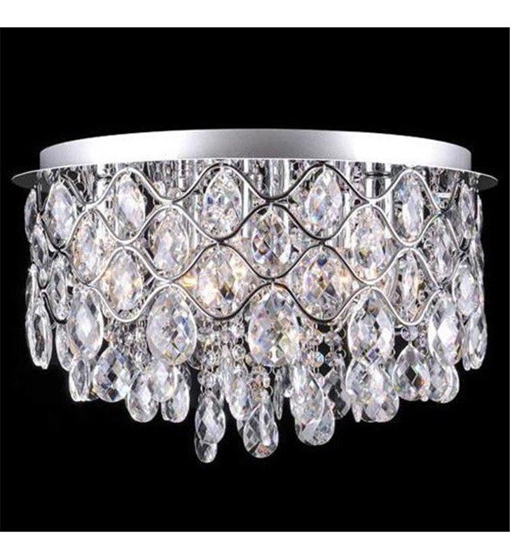Plafon kryształowy Roma 450 chrom okrągły z bezbarwnymi kryształami